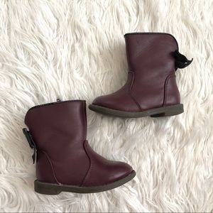 Cat & Jack Burgundy Bow Boots